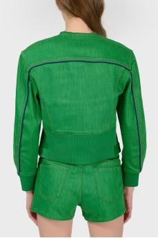 Куртка из зеленого денима с биркой