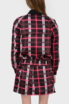 Куртка в абстрактный клетчатый принт с биркой