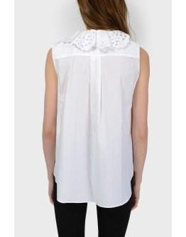 Блуза с ажурным воротником с биркой