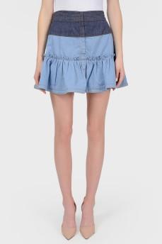 Джинсовая юбка с воланом с биркой