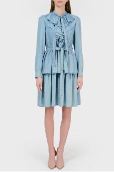 Платье из денима с воланами с биркой