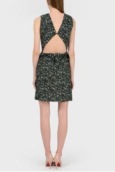 Платье в цветочный принт с открытой спиной с биркой