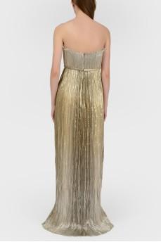 Золотистое вечернее платье с биркой
