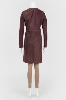 Замшевое приталенное пальто с биркой
