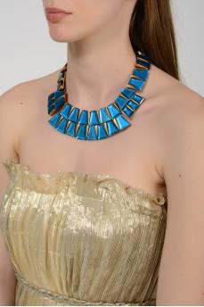 Ожерелье с бирюзовыми трапециевидными камнями с биркой