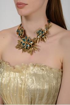 Ожерелье в виде крупных цветов с бирюзовыми камнями с биркой