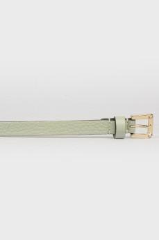 Салатовый кожаный пояс с золотистыми шипами с биркой