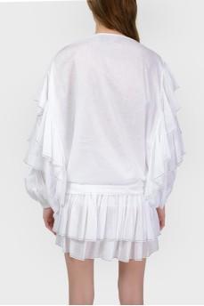 Белая блуза с объемными рукавами с биркой