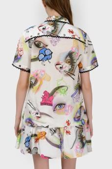 Блуза в абстрактный принт с биркой