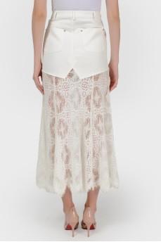 Джинсовая юбка с кружевом с биркой