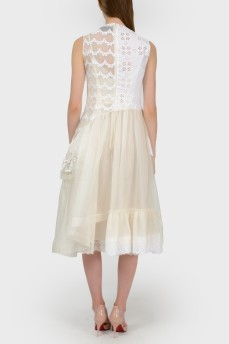 Молочное ажурное платье с биркой