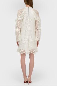 Ажурное молочное платье с биркой