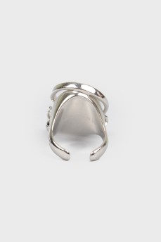 Серебристое металлическое кольцо с камнями