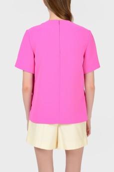 Топ неоново-розовый с асимметричным низом