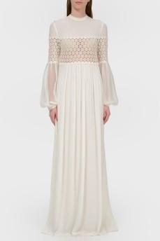 Платье в пол с полупрозрачным верхом с биркой