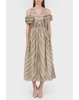 Платье в диагональную полоску с открытыми плечами с биркой
