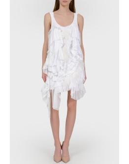 Вязаное платье с воланами и перьями с биркой