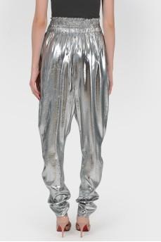 Серебристые брюки галифе с биркой