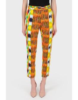 Укороченные брюки в абстрактный принт с биркой