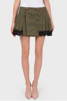 Шерстяная юбка в складку с кружевом