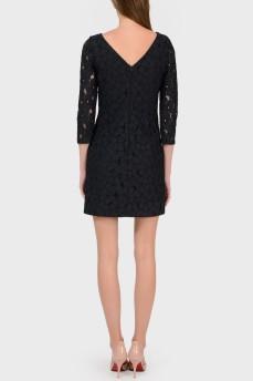 Кружевное черное платье на молнии