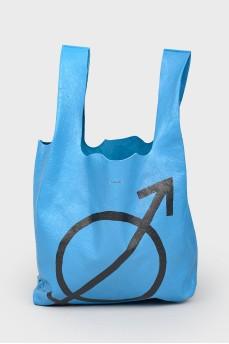 Синяя сумка шоппер с биркой
