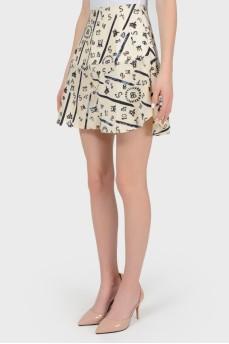 Бежевые юбка-шорты в принт с биркой