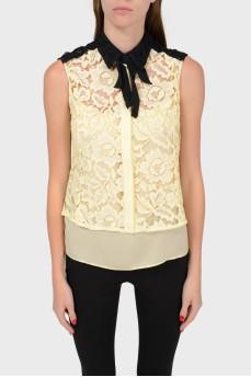 Двухцветная кружевная блуза с топом-подкладкой