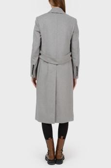 Шерстяное серое пальто с асимметричными пуговицами