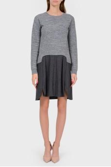 Шерстяное двухцветное платье с юбкой на пуговицах