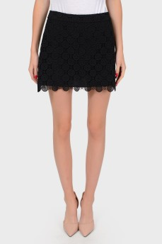 Кружевная черная мини-юбка