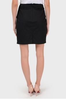 Коттоновая юбка со складками впереди