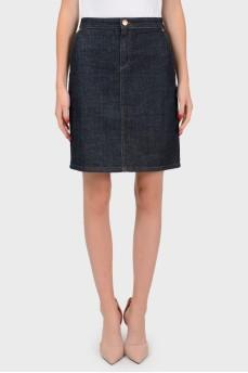 Джинсовая юбка с разрезом на завязках