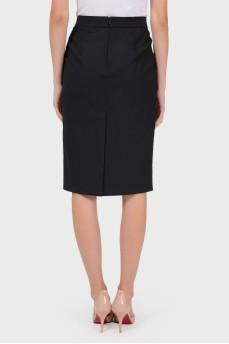 Шерстяная юбка-карандаш со шлицей