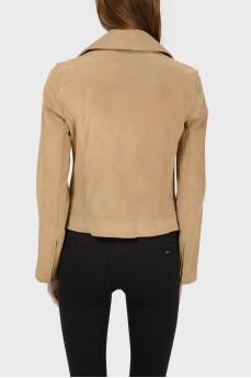 Замшевая куртка с асимметричной застежкой на пуговицы