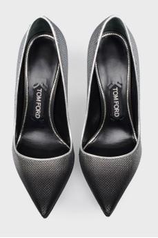 Кожаные туфли на шпильке с пайетками