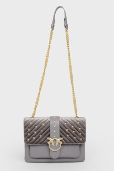 Серая кожаная  сумка Love