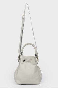 Кожаная сумка на стяжках