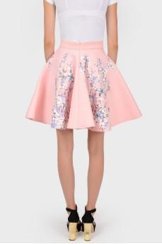 Расклешенная юбка из розового шелка