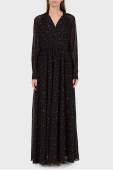 Шелковое платье в пол с цветочным принтом