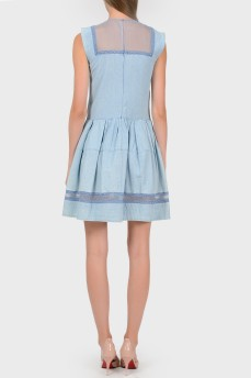 Голубое платье с прозрачными вставками