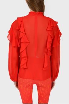 Красная шелковая блуза с оборками