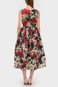 Платье с расклешенной юбкой в цветочный принт
