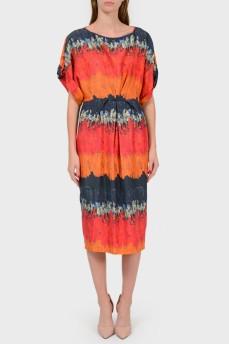 Шелковое платье с цельнокроеным рукавом