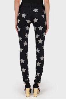 Черные джинсы со звездами