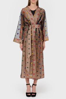 Платье-халат с вязаными цветами