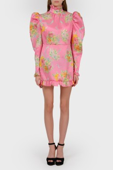 Шелковое мини-платье с оборками
