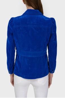 Ярко-синий пиджак с отрезной талией