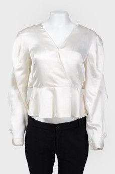 Винтажная блуза с пуговицами и разрезом на спине