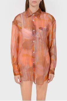 Прозрачная удлиненная блуза на пуговицах